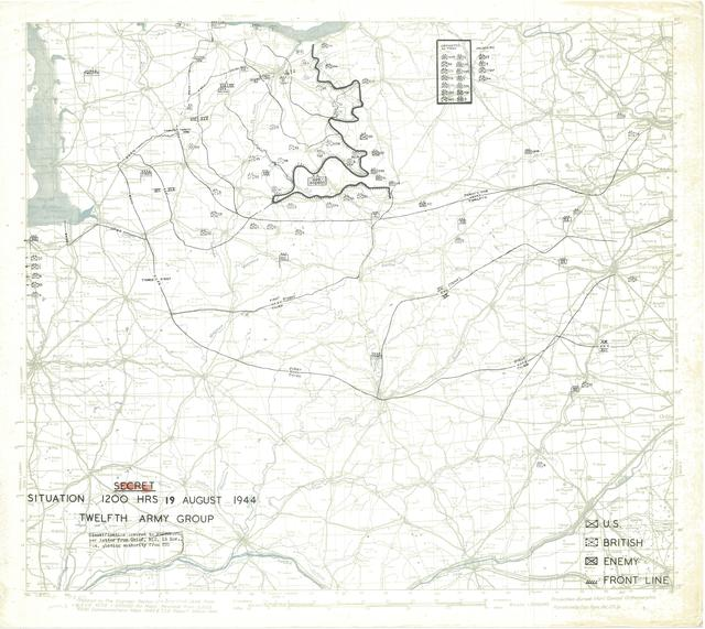 Situation Map for 1200 Hrs 19 August 1944