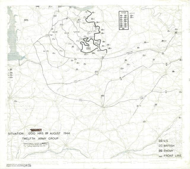 Situation Map for 1200 Hrs 20 August 1944