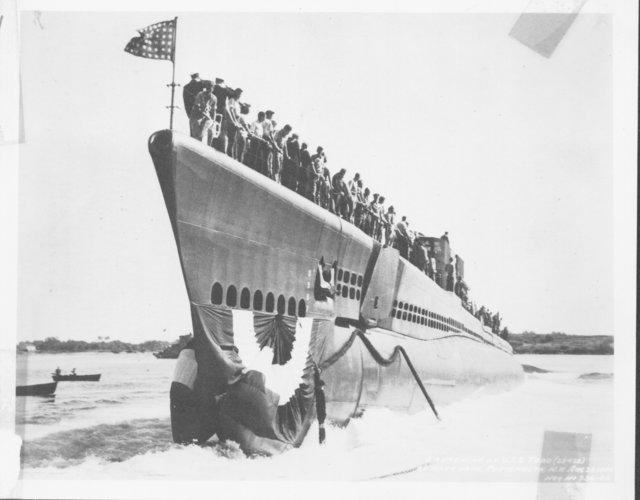 Launching of the USS Toro (SS 422) at Navy Yard, Portsmouth, New Hampshire
