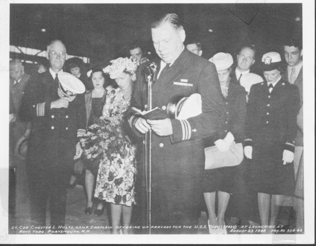 Lieutenant Commander Chester L. Hults, U.S. Navy Reserves Chaplain, Offering up Prayers for the USS Toro (SS 422) Launching at the Navy Yard, Portsmouth, New Hampshire