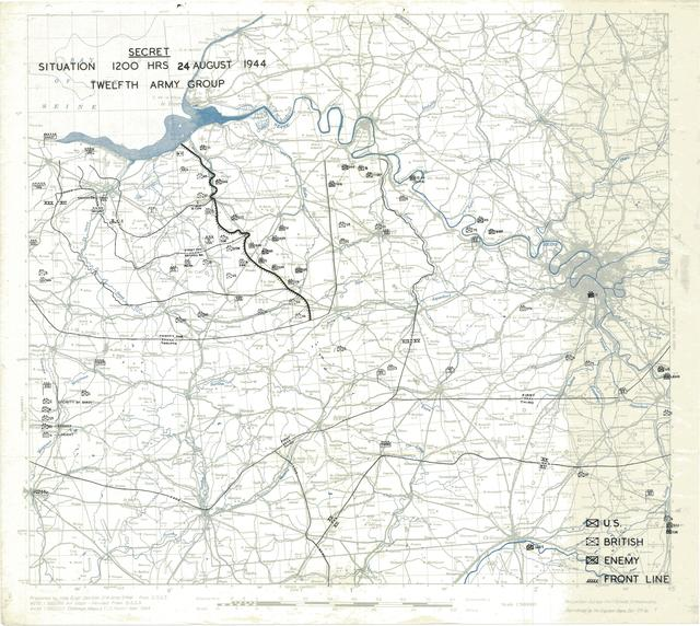 Situation Map for 1200 Hrs 24 August 1944