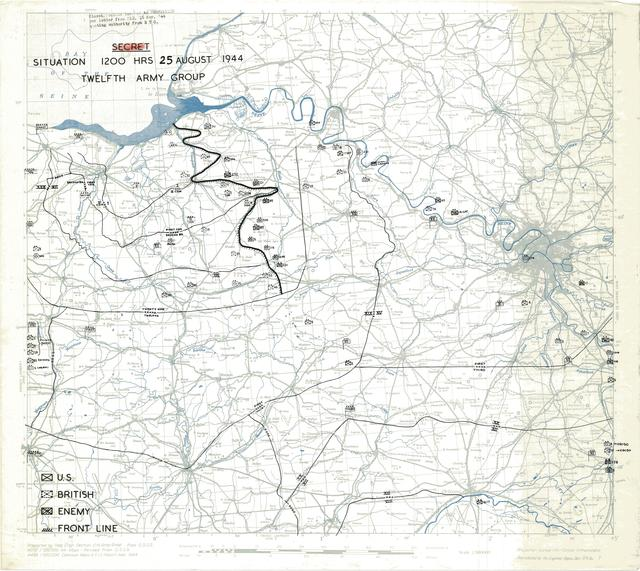 Situation Map for 1200 Hrs 25 August 1944