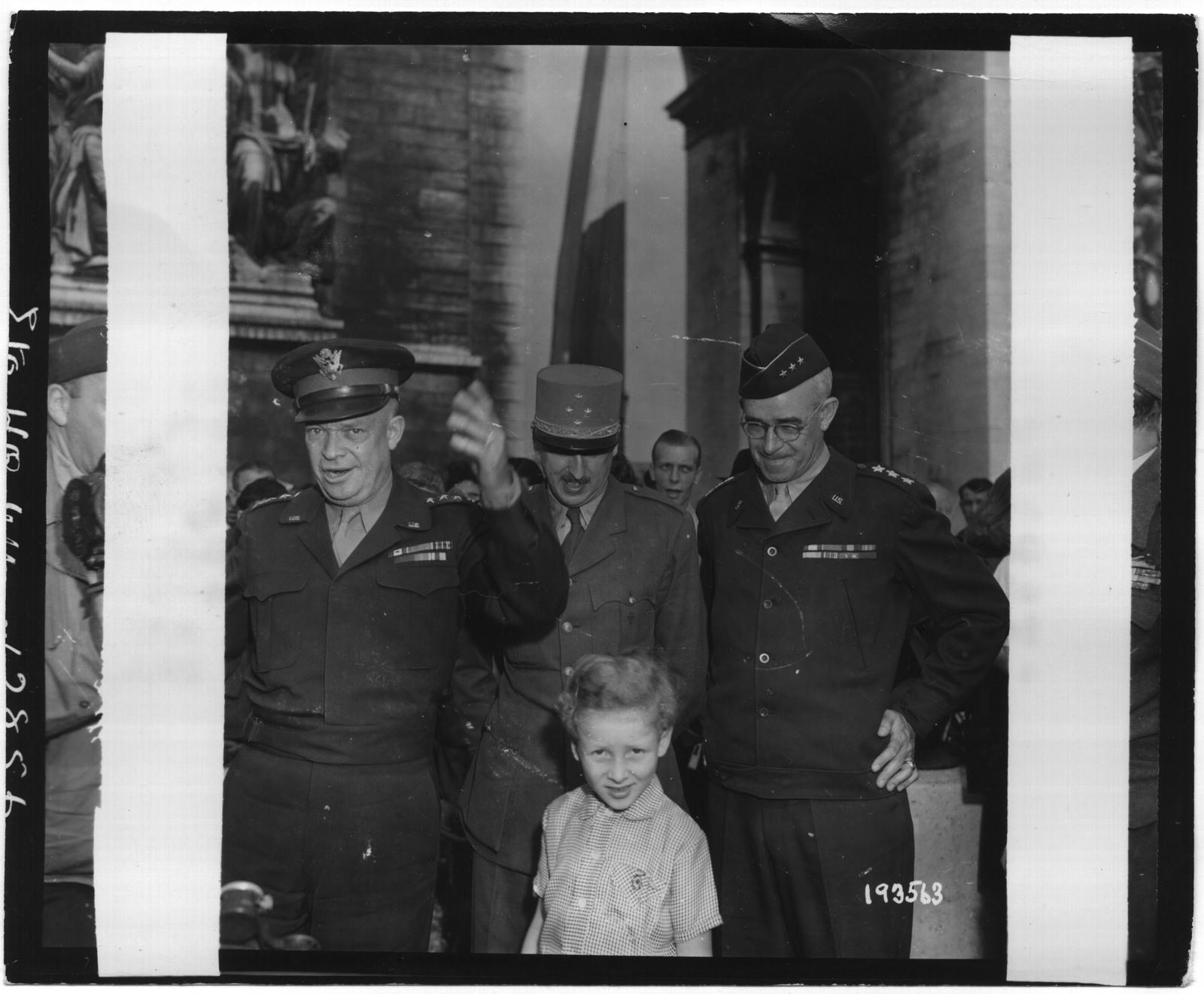 General Eisenhower with General Pierre Kœnig and Lt. Gen. Omar Bradley at the Arc de Triomphe
