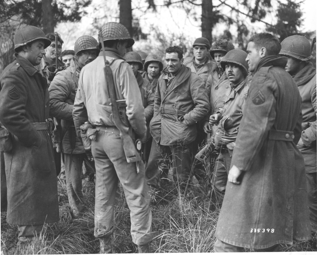 Photograph of American Soldiers from the 28th Division Band and Quartermaster Company Who Stayed and Fought Germans in Wilts, Belgium