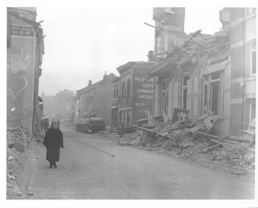 Photograph of Bomb Damage in Bastogne, Belgium