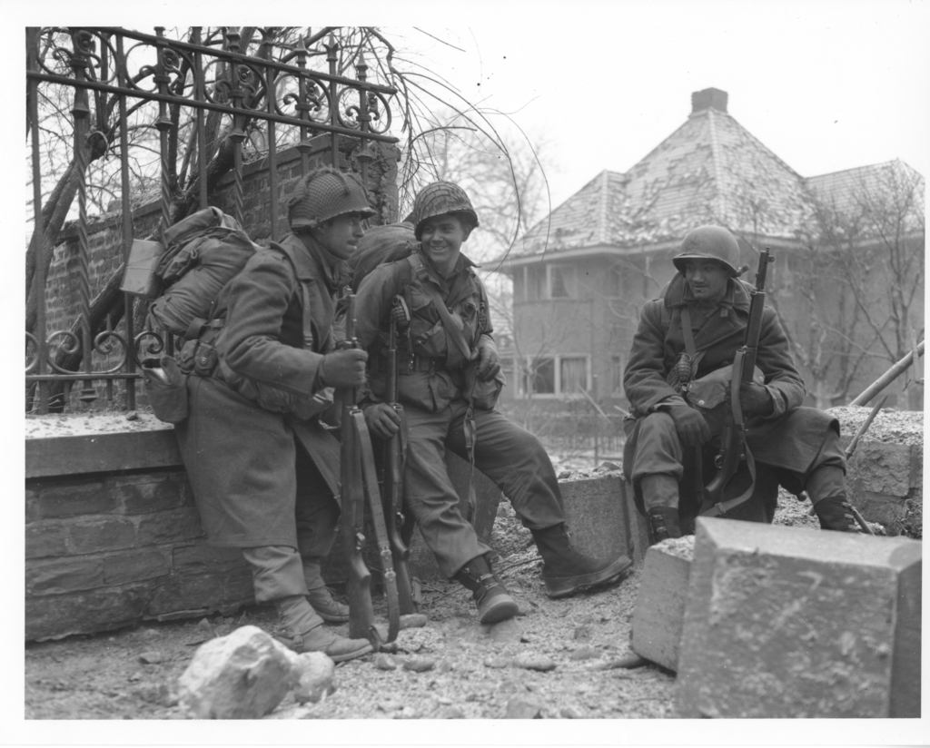 Photograph of American Troops Pausing for a Rest