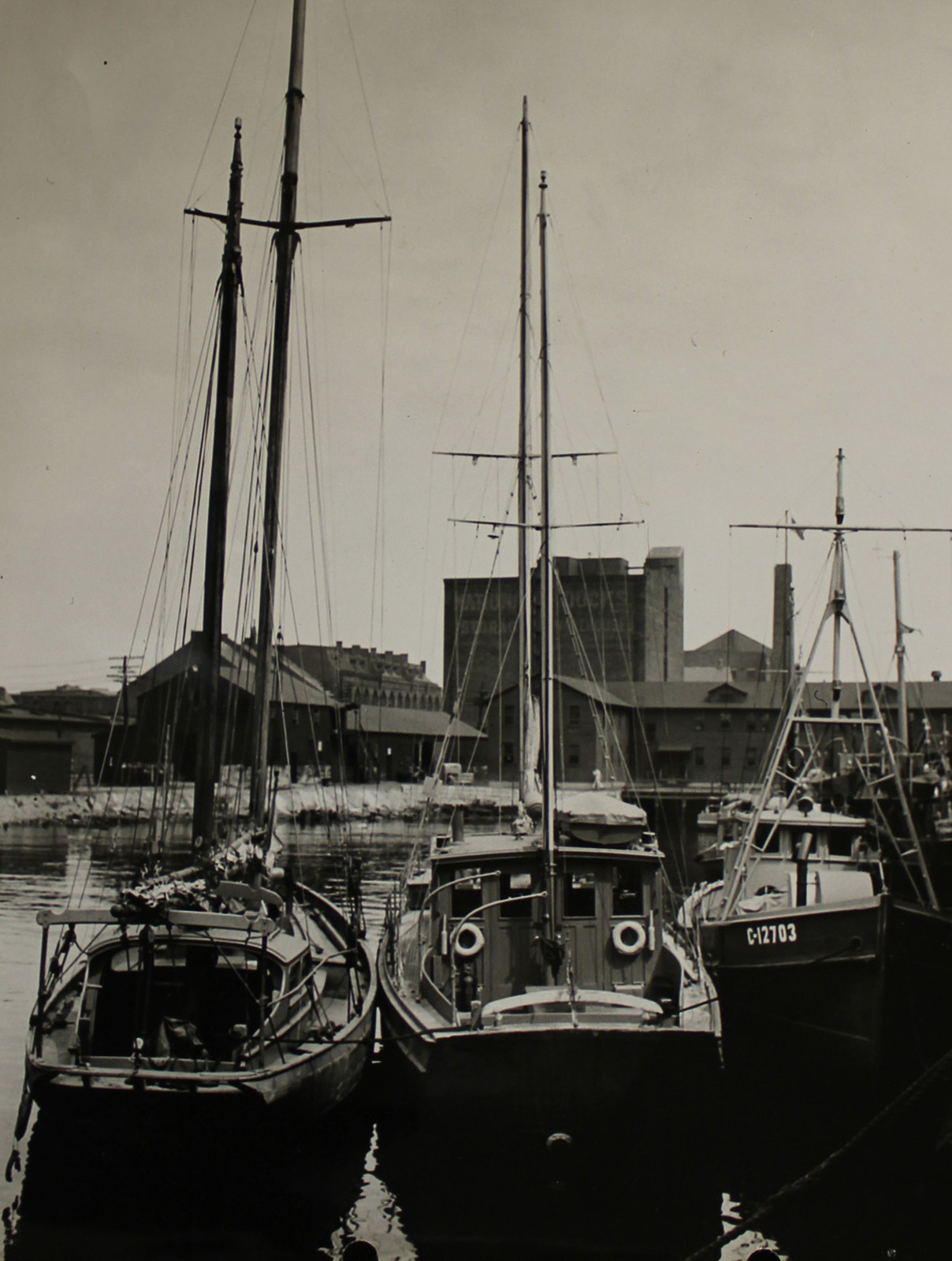 Boats Docked at U.S. Naval Frontier Base, Boston, Massachusetts