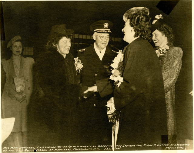 Mrs. Mary Dondero, the First Woman Mayor of Portsmouth, New Hampshire, Greets Mrs. Slade D. Cutter at the Launch of the USS Requin