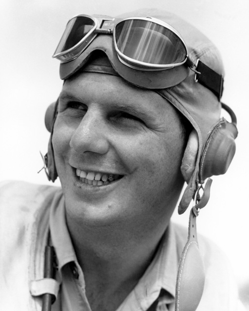 United States Marine Corps Captain (CPT) Donald N. Aldrich, 26 year old Marine fighter pilot from Chicago, Illinois, shot down 19 Japanese planes.  Defense of Department, Official Portrait