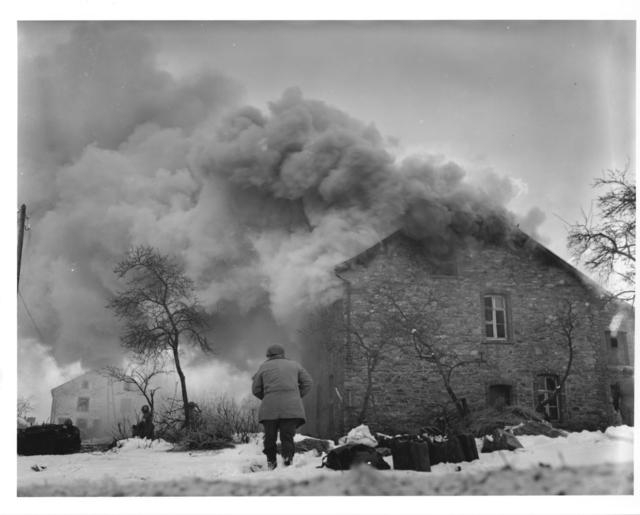 Photograph of a Burning Home Near Lmore, Belgium
