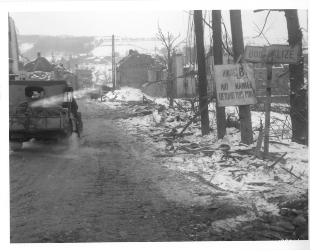 Photograph of an American Jeep Entering the Town of Houffalize, Belgium