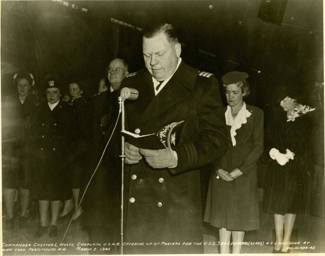Commander Chester L. Holts, Chaplain, Blesses the USS Sea Leopard