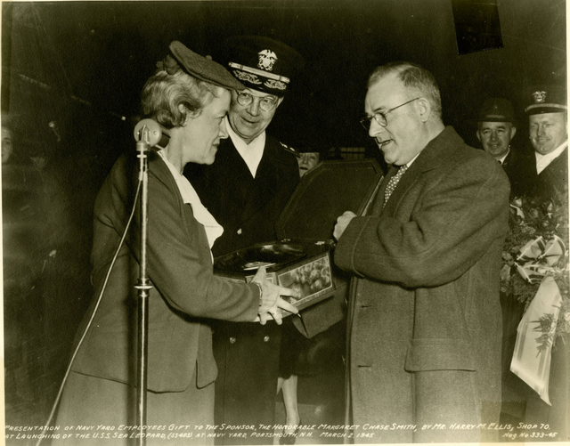 Employees of the Portsmouth Navy yard Present a Gift to Sponsor Margaret Chase Smith
