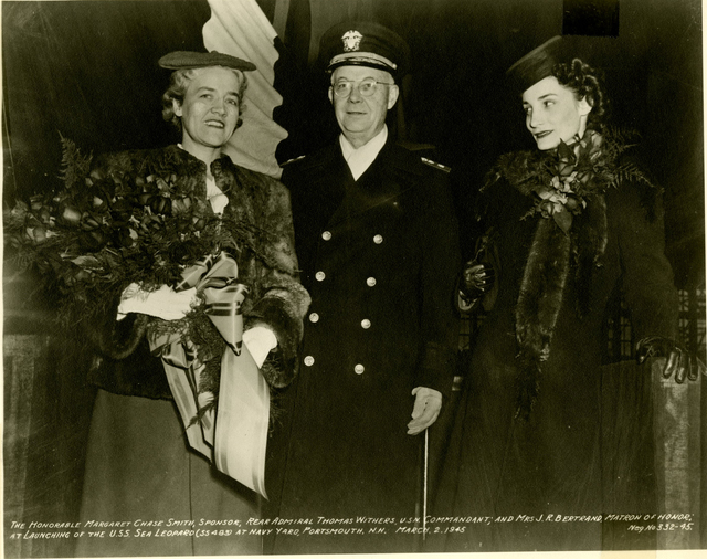 Margaret Chase Smith, Rear Admiral Thomas Withers, and Mrs. J.R. Bertrand at the Launch of the USS Sea Leopard