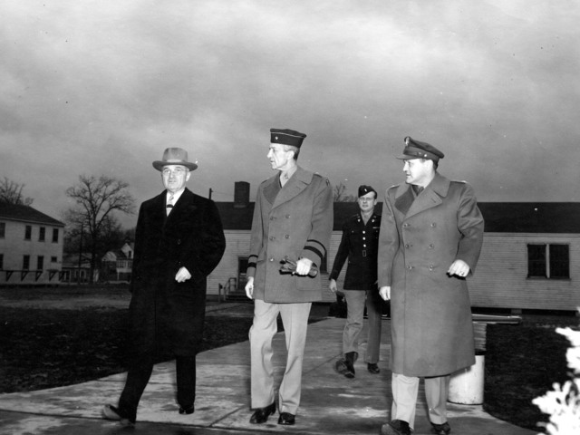 Vice-President Harry S. Truman with Gordon Young and Harry Vaughan