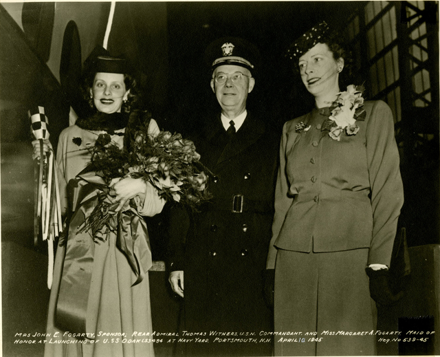 Mrs. John E. Fogarty, Rear Admiral T. Withers, and Miss Margaret A. Fogarty at the Launch of the USS Odax