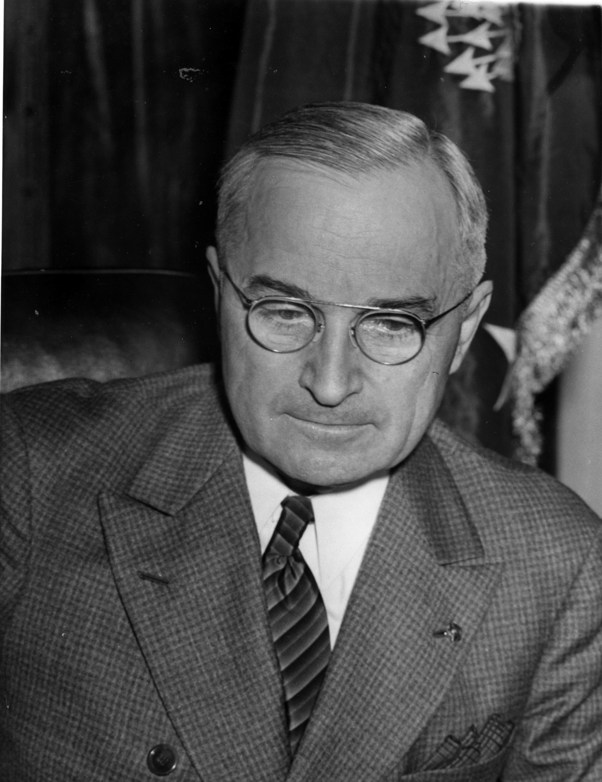 Head and Shoulders Serious View of President Harry S. Truman at His Desk