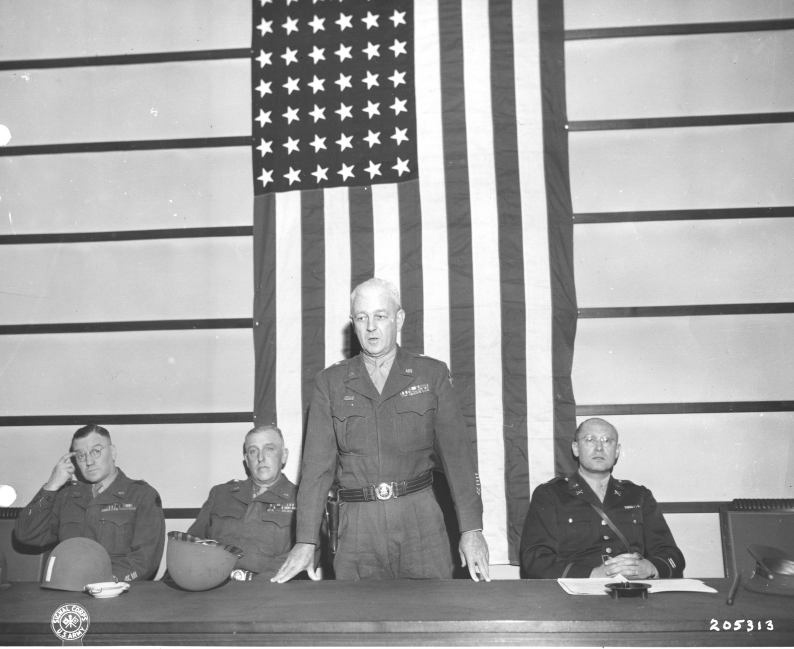 Photograph of Major General Hugh J. Gaffey Addressing Heads of Regional German Governments and Army Technical Staff