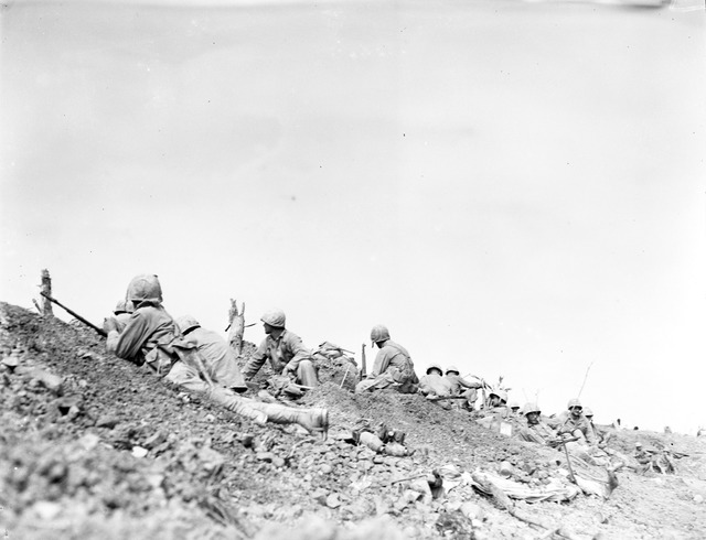 Marines Pinned Down By Japanese Fire