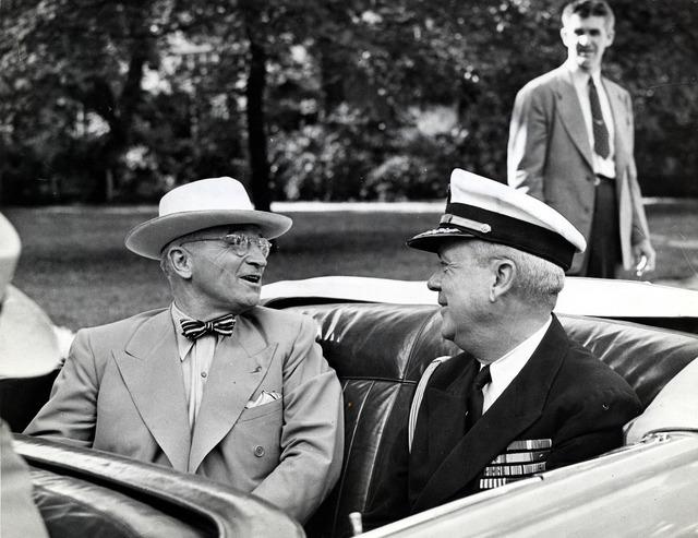 President Harry S. Truman and Captain James Vardaman in Car