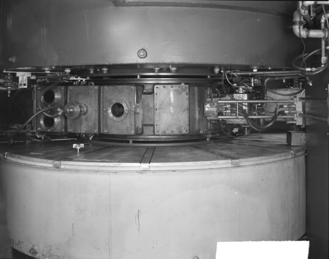 "North-East side of tanks and magnet coils, 60-inch cyclotron. Photo taken 7/03/1945. Declassified 4/30/1959. 60""-126 Principal Investigator/Project: Crocker Lab/60-inch"