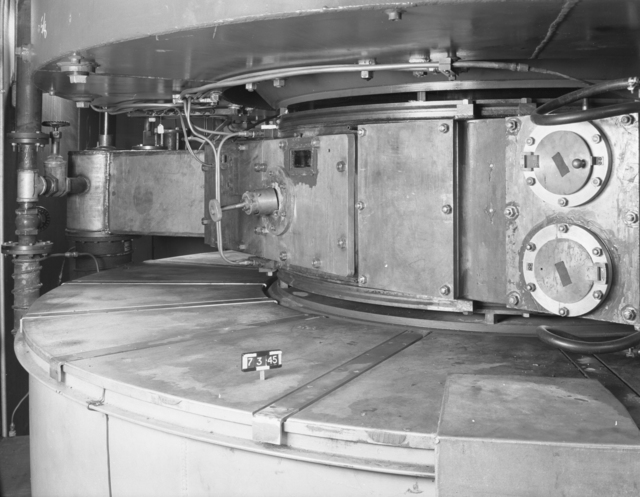 "West side of tanks and magnet coils, 60-inch cyclotron. Photo taken 7/03/1945. Declassified 1954. 60""-122 Principal Investigator/Project: Crocker Lab/60-inch"