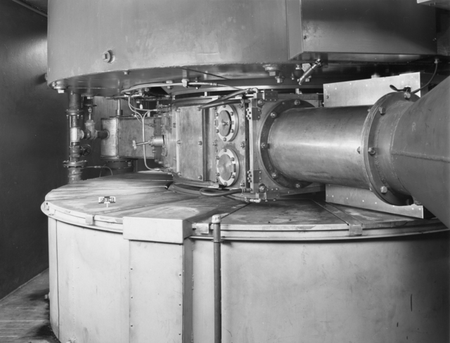 "West side of tanks and magnet coils, 60-inch cyclotron. Photo taken 7/03/1945. Declassified 1954. 60""-123 Principal Investigator/Project: Crocker Lab/60-inch"
