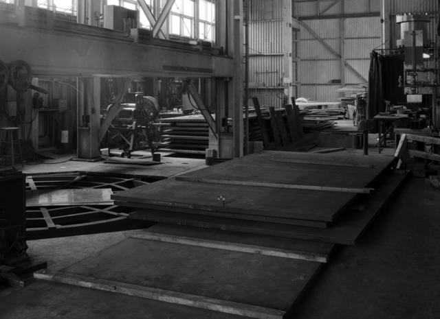 184-inch cyclotron, calutron conversion, steel plates. Photo taken 8/17/1945. Principal Investigator/Project: Analog Conversion Project