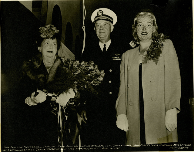 Mrs. James J. Heffernan, Rear Admiral Thomas Withers, and Miss Patricia Heffernan at the Launch of the USS Sarda