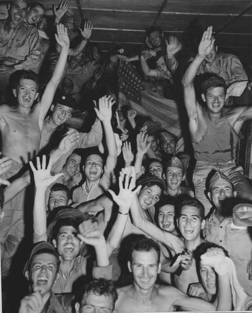 Photograph of Allied Prisoners of War at Aomori Camp Near Yokohama, Cheering Rescuers from the U.S. Navy