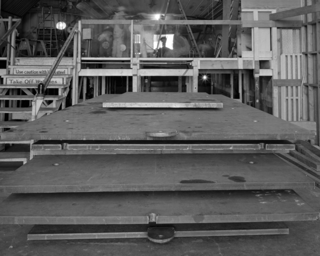 184-inch cyclotron, calutron conversion, steel plates in foreground. Photo taken 9/01/1945.  Confidential, declassified 4/30/1959. Principal Investigator/Project: Analog Conversion Project