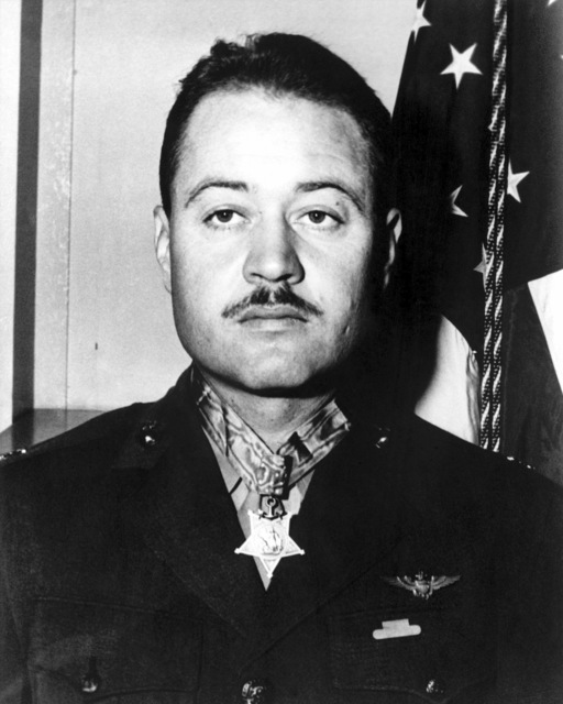 "Official Portrait of US Marine Corps (USMC) Lieutenant Colonel (LTC) Gregory""Pappy""Boyington, Commander, Marine Fighter Squadron 214 (VMF-214)""Black Sheep""taken at Marine Corps Headquarter, Washington D.C., October 4, 1945. LTC Boyington was awarded the Medal of Honor and is an Ace Pilot credited with 28 kills"