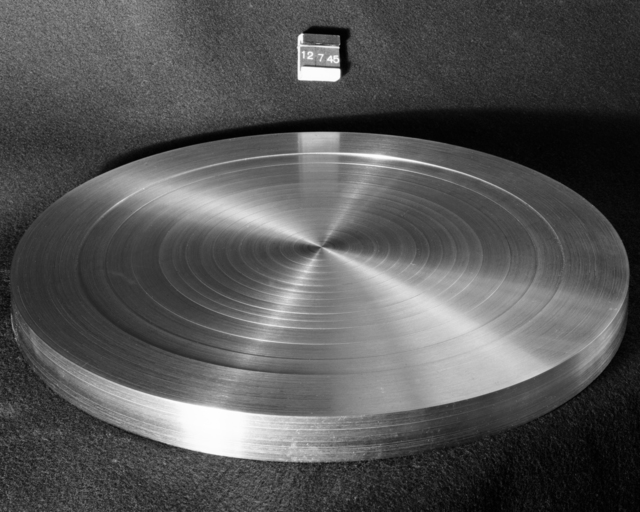 "Shim for 184-inch cyclotron magnet model. Photo taken 12/07/1945. 184""-119. Principal Investigator/Project: Analog Conversion Project"
