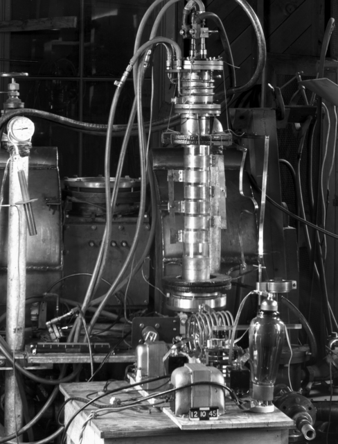 "Frequency modulator using external electrodes to a glow discharge associated with 184-inch cyclotron. Photo taken 12/11/1945. 184""-126. Principal Investigator/Project: Analog Conversion Project"