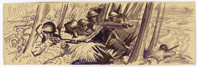 [American machine gun crew fighting off an attack.] (Information on the back: Gonzalez)