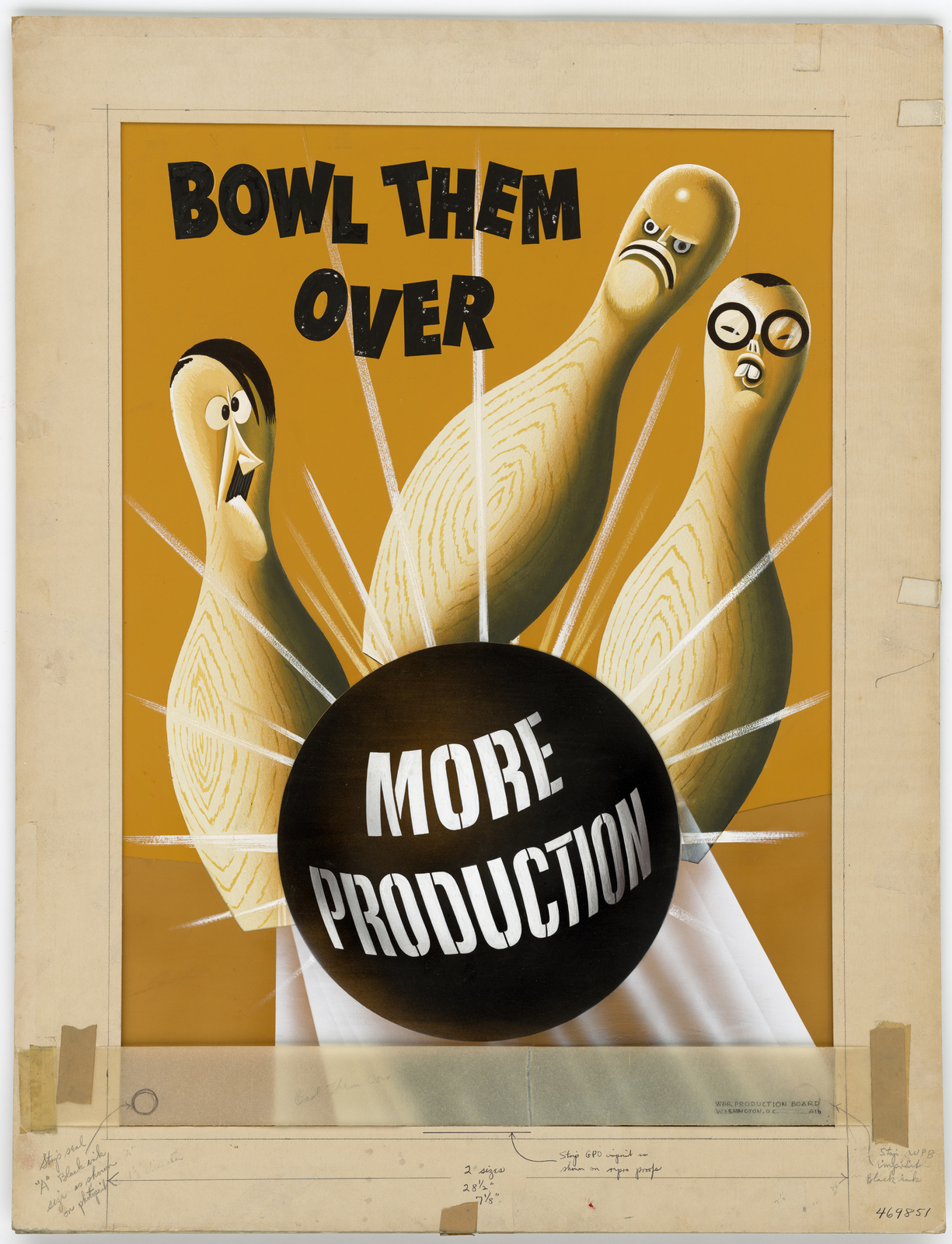 Bowl Them Over.  MORE PRODUCTION. (Information on cover sheet: War Production Board, Washington, D.C. A-16.  There is a revision piece.)