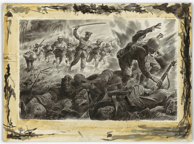 [Charge by Japanese light infantry toward a group of unidentifiable soldiers.]
