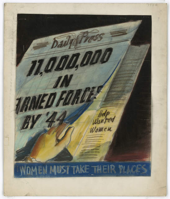 Daily Press.  11,000,000 in Armed Forces by '44.  Help Wanted Women.  Women Must Take Their Places