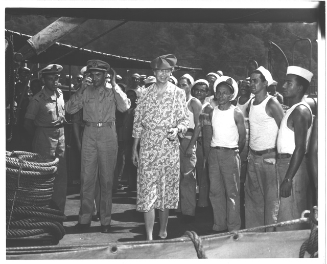 Eleanor Roosevelt with Servicemen during a Trip to Central and South America