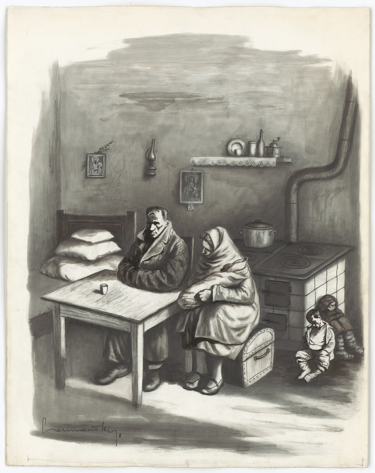 [Family man, woman, two children, and a baby wrapped up to keep warm.] [Hermansky]