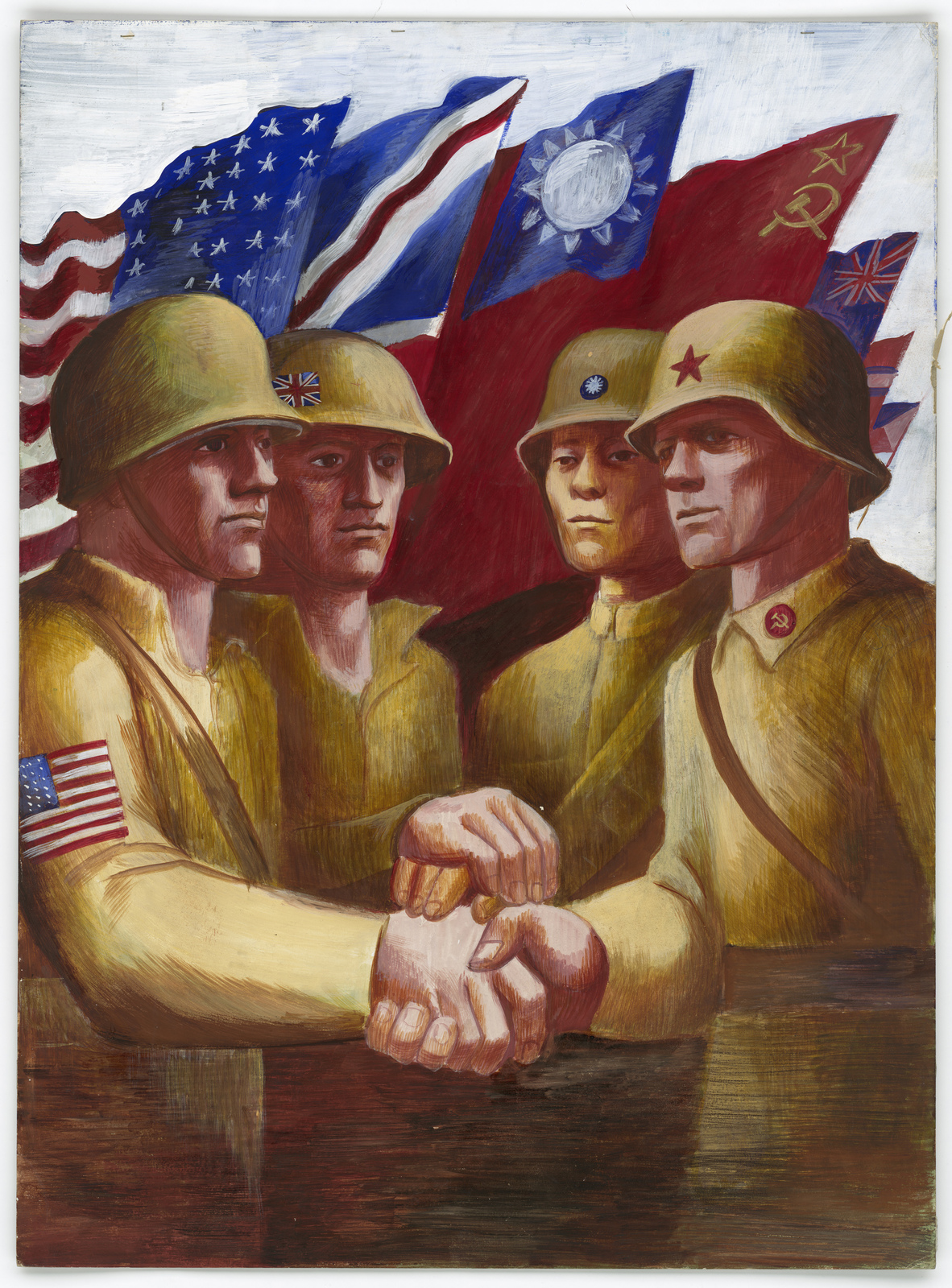 [Four soldiers shaking hands with the American, British, Chinese, and Russian flags in the background.]