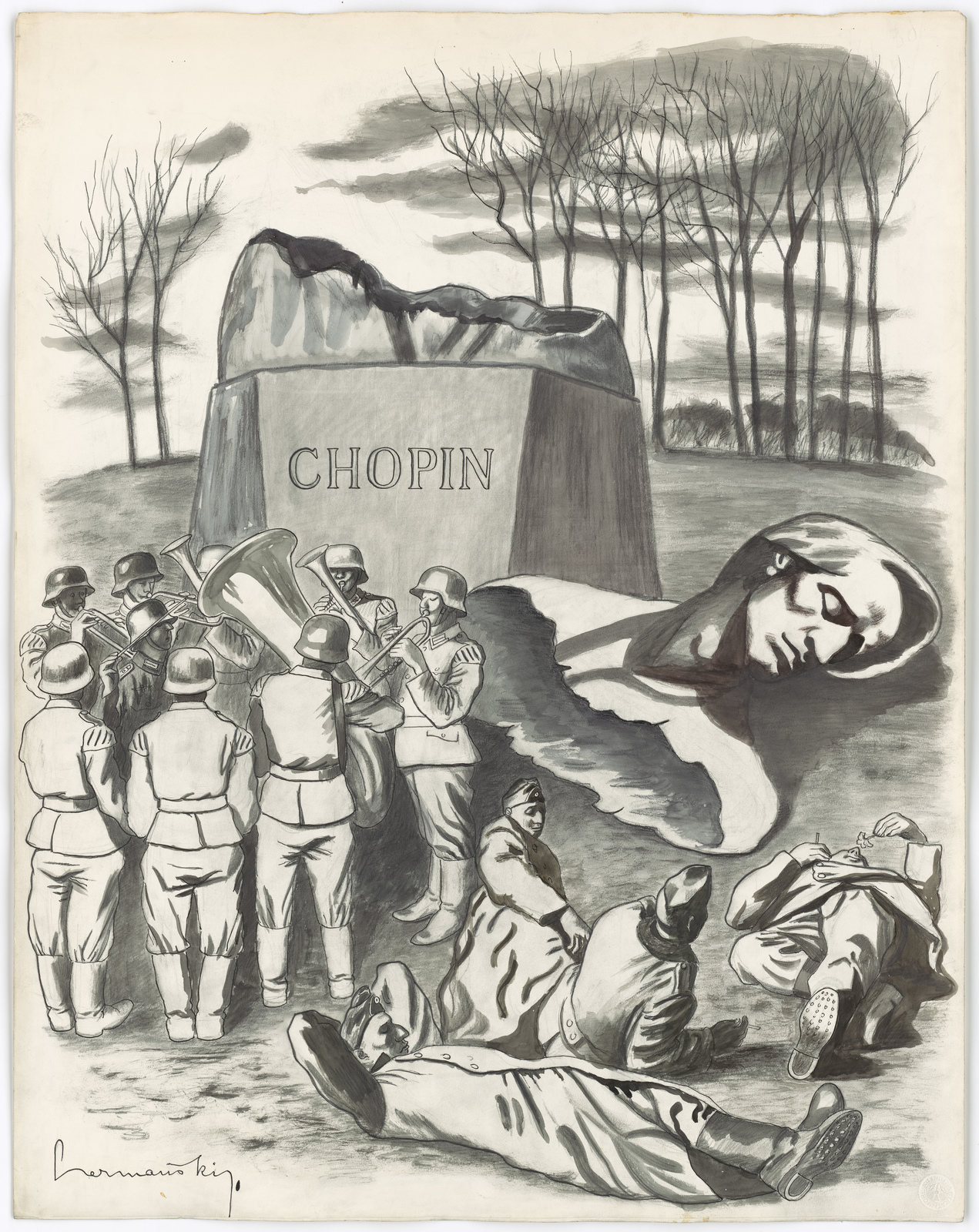 [German military band playing music in front of a statue of Chopin that has had its head taken off.   Other German soldiers are lying in the grass in the foreground.] [Hermansky]