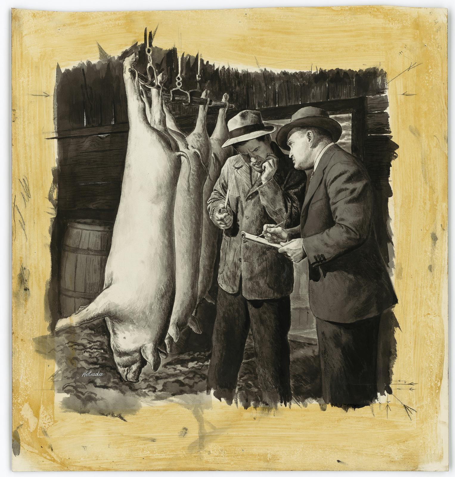 [Inspector talking to farmer beside the dead hogs hanging from meat hooks. June 11, 1945] [Kolada]