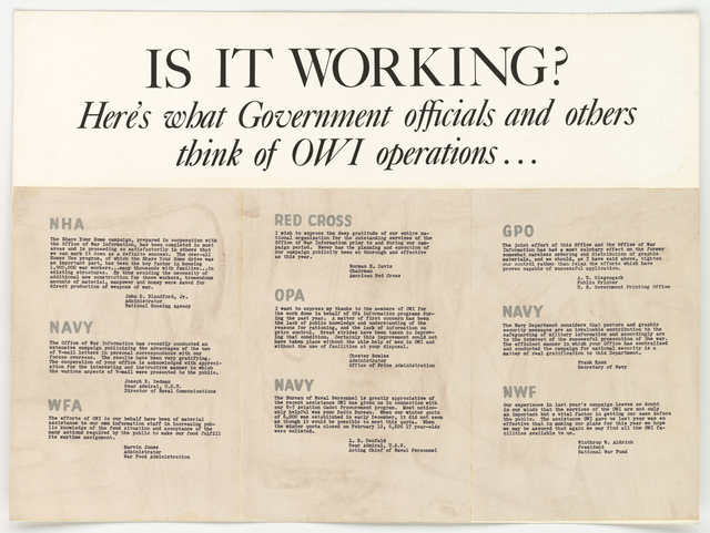 IS IT WORKING? Here's what Government officials and others think of OWI operations...