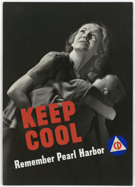 KEEP COOL. Remember Pearl Harbor. CD [Civil Defense]. (Information on the back: Submitted by the Graphics Section.  United States Public Health service.  Photograph: Courtesy of Photographic unit, Office of Emergency management.)