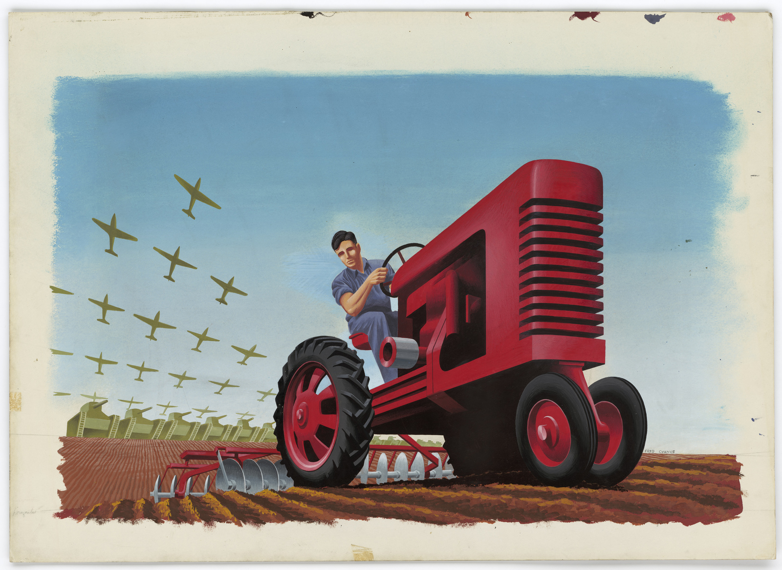 [Man plowing a field with a tractor with military planes and tanks following him.] [See Item 208-AOP-122-121] [Fred Chance]
