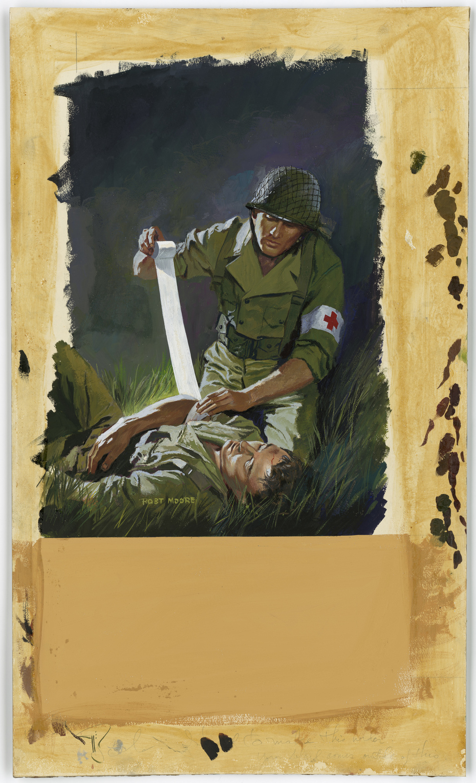 """[Medic wrapping wounded soldier with cloth bandage] - [Information on mat: """"Fabrics Fight, Too."""" Note: There is evidence that a piece is missing] [Robert Moore]"""