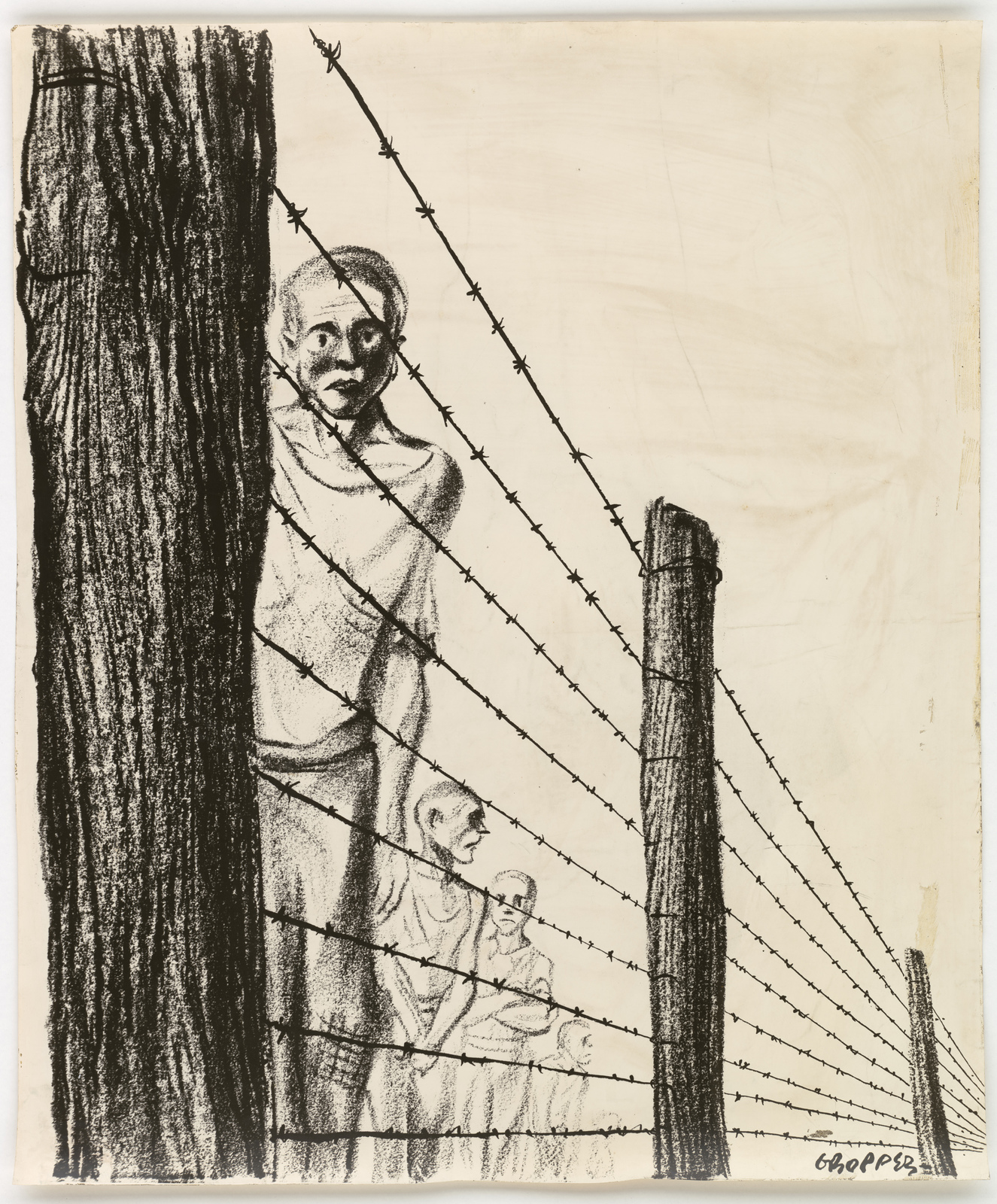 [Men standing behind barbed wire.] [Gropper]