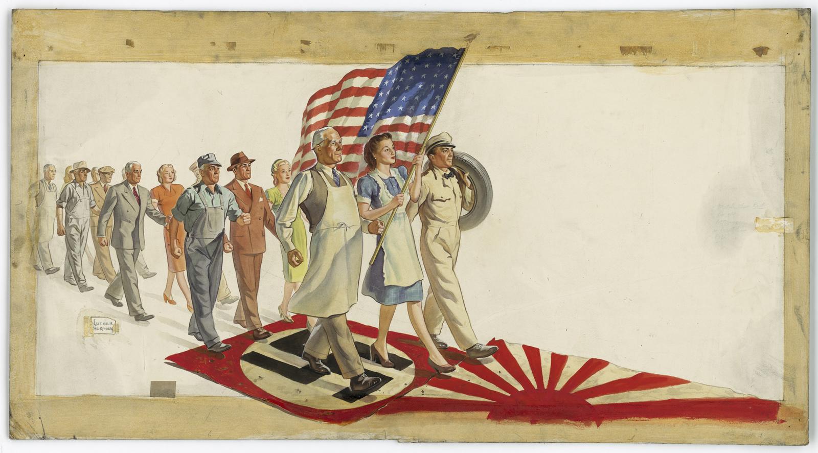 [People in three different occupations walking (marching) on the flags of Germany and Japan.  The first three people are a grocer, a housewife carrying an American flag, and service station attendant carrying a tire. To inspire folks on the homefront.] [Luther Horney]