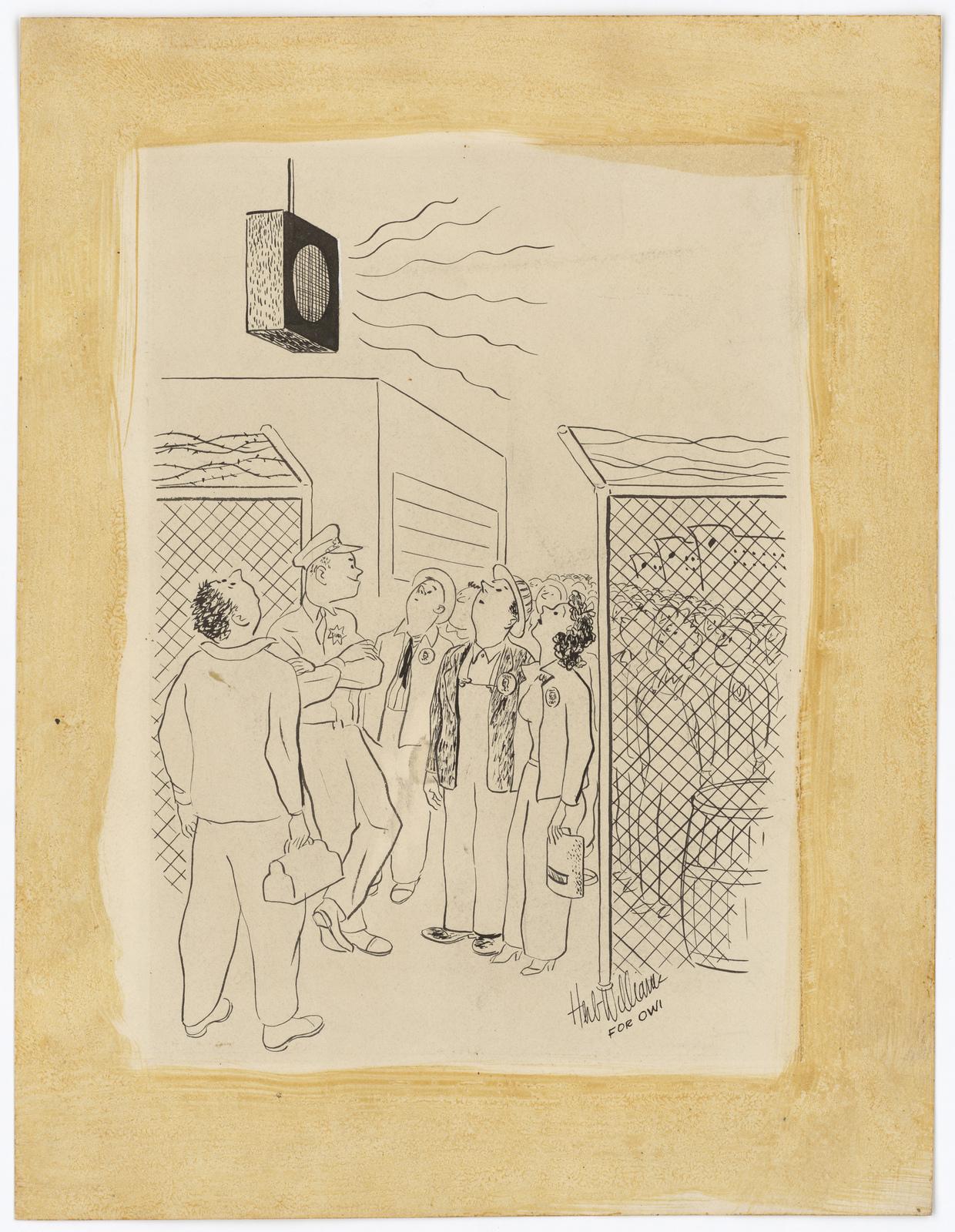 People Listening to a Loudspeaker. [Herb Williams]